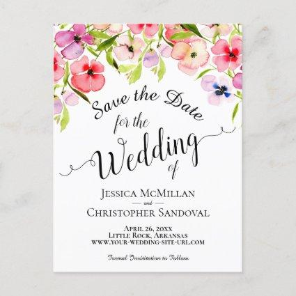 Colorful Watercolor Pansies Wedding Save the Date Announcement