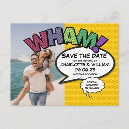 Comic Book Pop Art WHAM Photo Save the Date Announcement