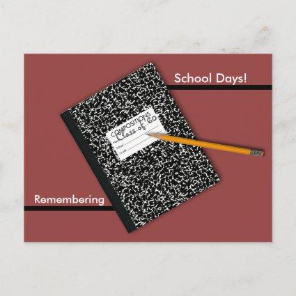 Composition Book Class Reunion Save the Date Announcements Cards
