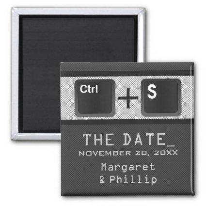 Computer Key Control Save the Date Magnet, Gray Magnet