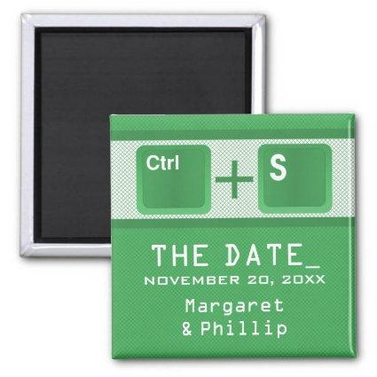 Computer Key Control Save the Date Magnet, Green Magnet