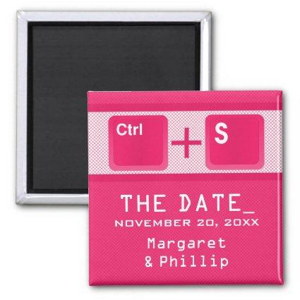 Computer Key Control Save the Date Magnet, Pink Magnet
