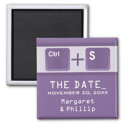 Computer Key Control Save the Date Magnet, Purple Magnet