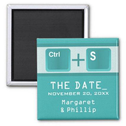 Computer Key Control Save the Date Magnet, Teal Magnet