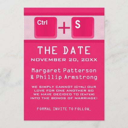 Computer Key Control Save the Date, Pink Save The Date