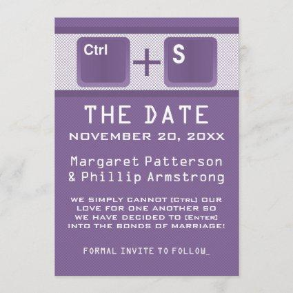 Computer Key Control Save the Date, Purple Save The Date