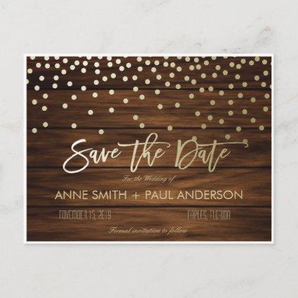Confetti and wood Save the Date Announcement