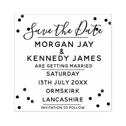 Confetti Save The Date DIY Wedding Rubber Stamp