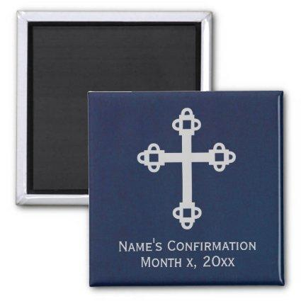 Confirmation Cross Magnet - Blue and Silver