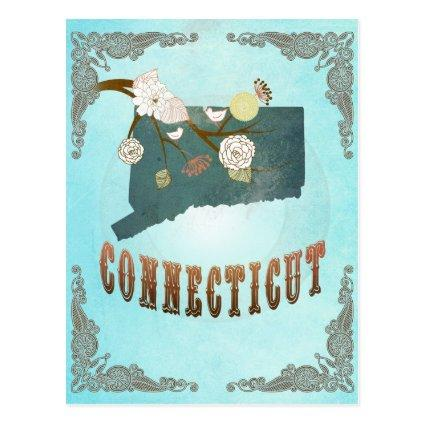 Connecticut Map With Lovely Birds Cards