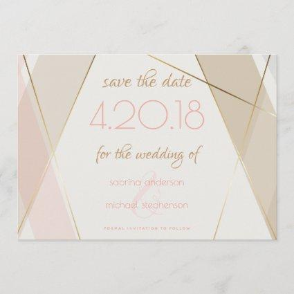 Contemporary Modern Geometric Stripes Blush Sand Save The Date