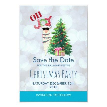 Cool Llama on Silver Bokeh & Icy Blu Save The Date Invitation