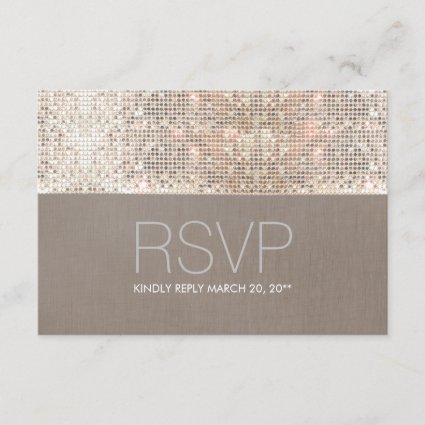 Cool Modern Faux Silver Sequins RSVP