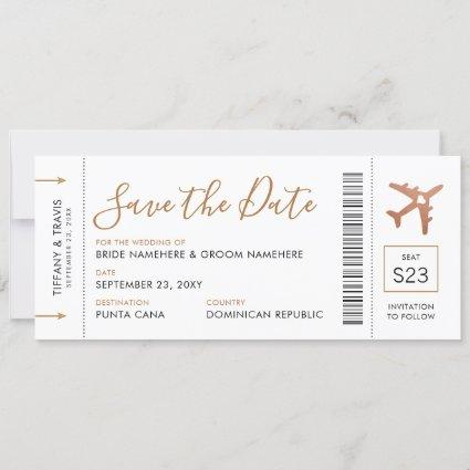 Copper Airplane Ticket Save the Date Announcement