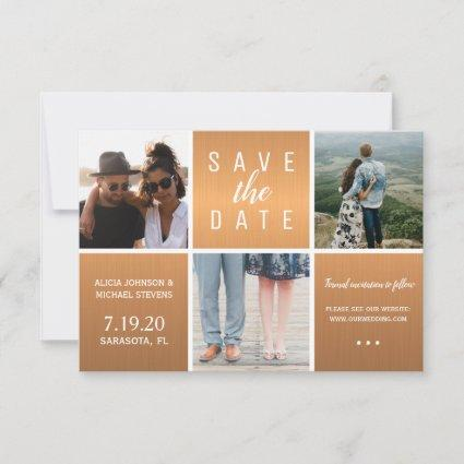 Copper gold glam white 3 photo collage wedding save the date