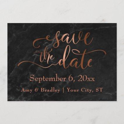 Copper Script & Black Marble Wedding Save the Date