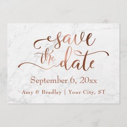 Copper Script & White Marble Wedding Save the Date
