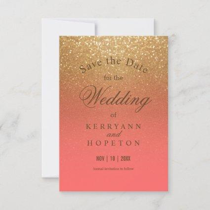 Coral and Gold Glitter - Save The Date