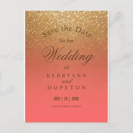 Coral and Gold Glitter - Save The Date Announcement