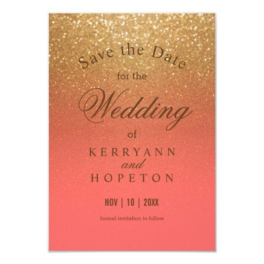 Coral and Gold Glitter - Save The Date Card
