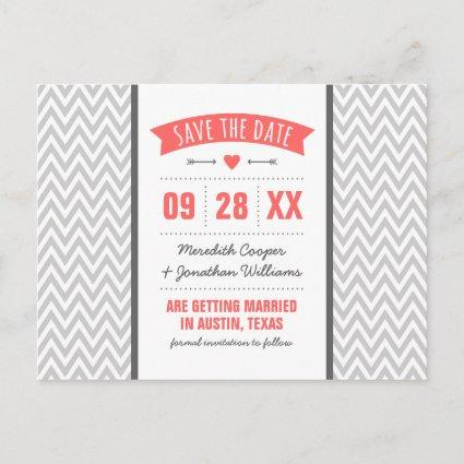 Coral and Gray Modern Chevron Save the Date Announcements Cards