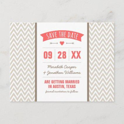 Coral and Linen Modern Chevron Save the Date Announcements Cards