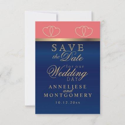 Coral and Navy Blue Gold Hearts - Save the Date