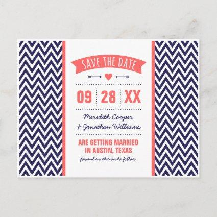 Coral and Navy Blue Modern Chevron Save the Date Announcements Cards