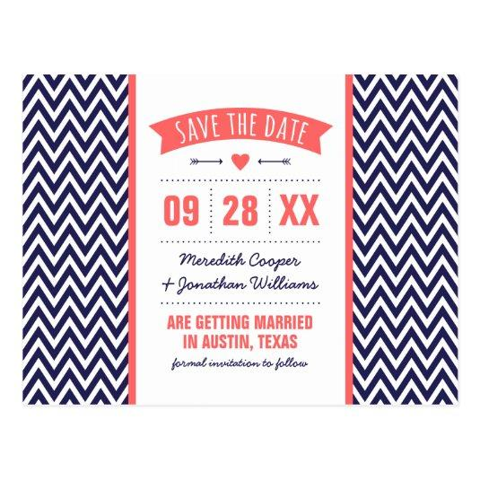 Coral and Navy Blue Modern Chevron