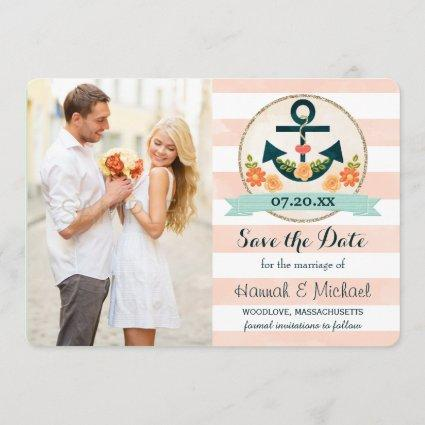 CORAL AND NAVY BLUE NAUTICAL ANCHOR SAVE THE DATE