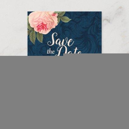 Coral and Navy Blue Shabby Chic Save the Date