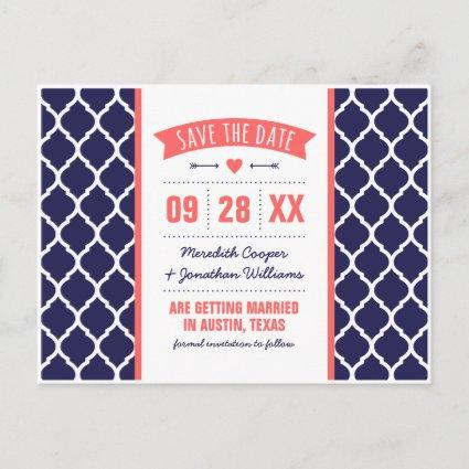 Coral and Navy Modern Quatrefoil Save the Date Announcements Cards