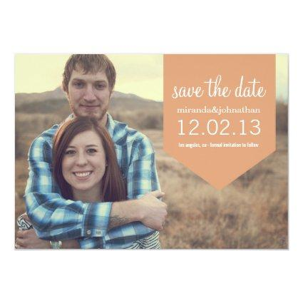 Coral Banner Photo Save The Date Announcements