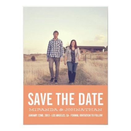 Coral Chic Photo Save The Date Announcements
