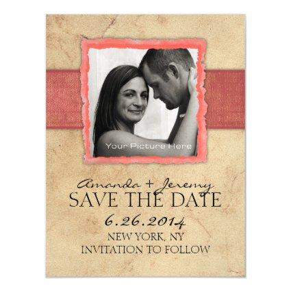 Coral Engagement Rustic Vintage Save The Date Magnetic Invitation