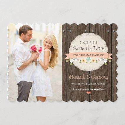 Coral Floral Rustic Boho Save the Date Card