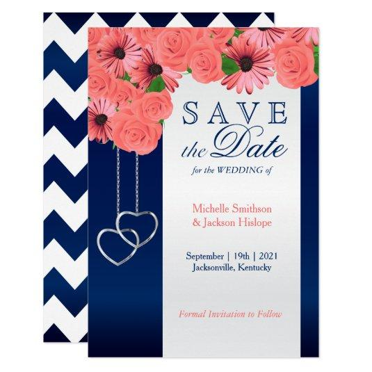 Coral Flowers and Navy Blue - Save the Date Card