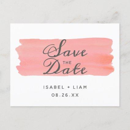 Coral Kiss Ombre Watercolor Save the Date Wedding Announcement