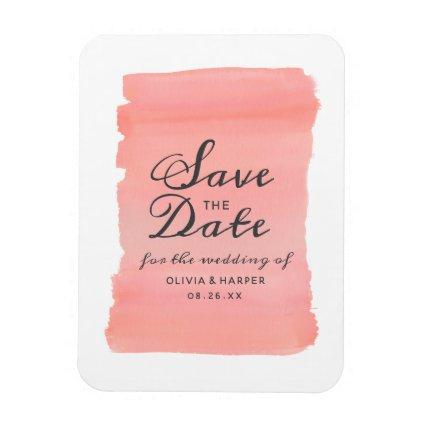 Coral Kiss Ombre Watercolor Wedding Save the Date Magnet