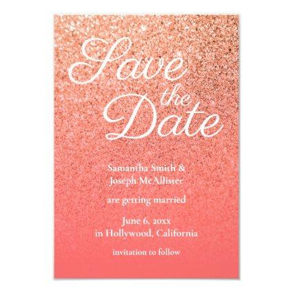 Coral Orange Ombre Glitter Save the Date Invitation