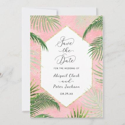 Coral Palms Tropical Botanical Gold Foil Save The Date