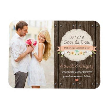 Coral Peach Rustic Floral Boho Save the Date Magnet