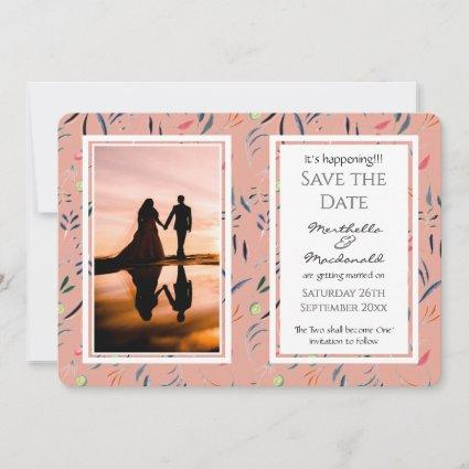 CORAL PINK Floral Custom Photo IT'S HAPPENING! Save The Date