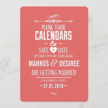 Coral Pink Save the Date Invitation