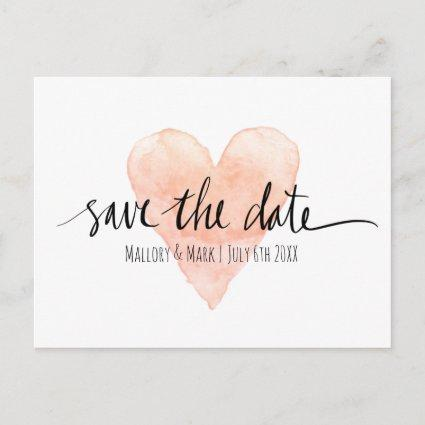 Coral pink typography save the date wedding