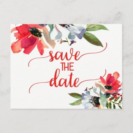 Coral Red Poppy Floral Wedding Save the Date Announcement