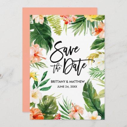 Coral Watercolor Tropical Floral Brush Script Save The Date