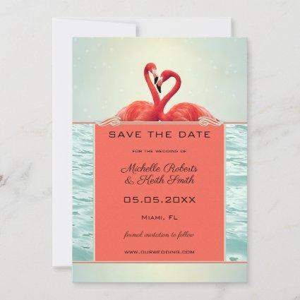 Coral Your Photo Flamingo Save the Date Card