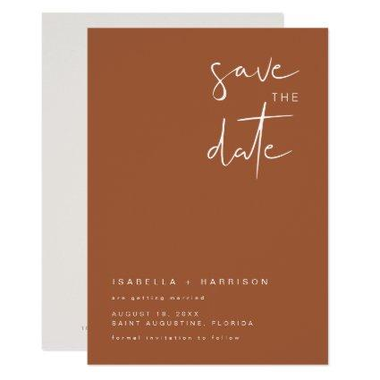 CORIANDER- Bohemian Burnt Orange Save the Date Invitation