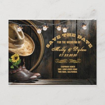 Country Boots Hat & Barn Wood Save the Date Announcement
